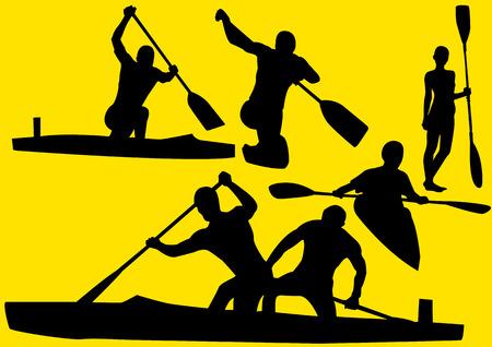 Roeien silhouet Stock Illustratie