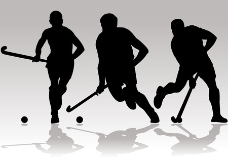 stock clip art icons: hockey player silhouettes