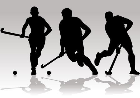 hockeyspeler silhouetten Stock Illustratie