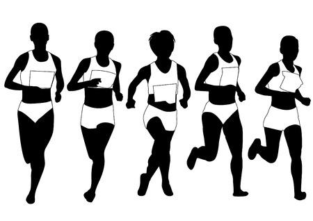 atletismo: grupo de corredores de maratón