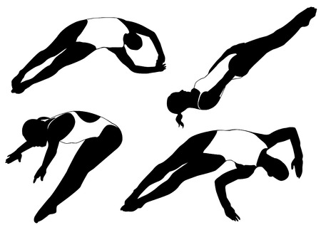woman diving: diving silhouettes  Illustration