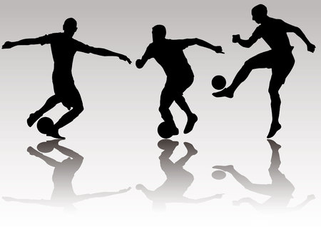 middle air: Soccer football player silhouettes