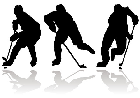 hockey goal: Ice hockey players silhouette and sport icon