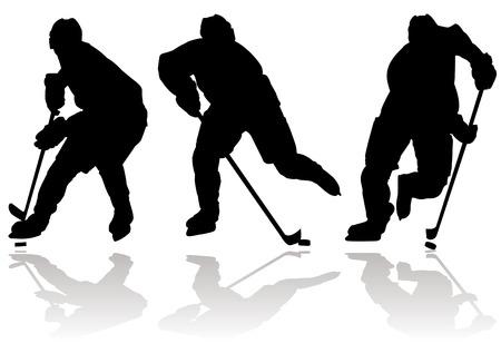 Ice hokeistów sylwetka i ikony sportu Ilustracje wektorowe