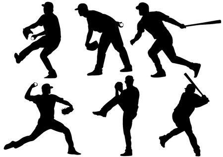 sport pictogrammen en honkbalspelers silhouetten Stock Illustratie