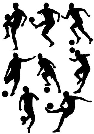 Voetbal speler silhouetten