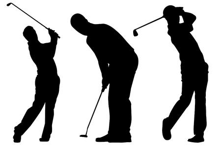 Sport icon golfers silhouettes