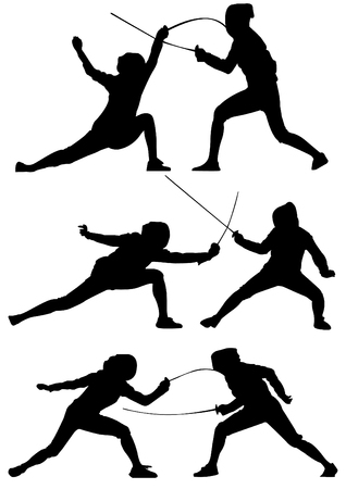 Sport icon Fencing silhouettes Stock Illustratie