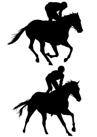 Paardenraces spel silhouet