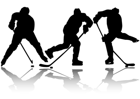 Three ice hockey silhouette and sport icon