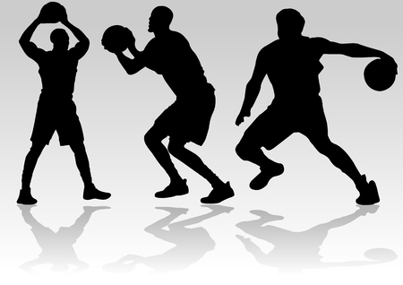 Three men silhouette playing basketball