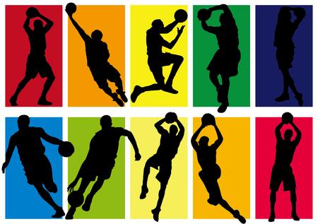 Stockfoto - basketbalspeler schaduw Silhouette Stock Illustratie