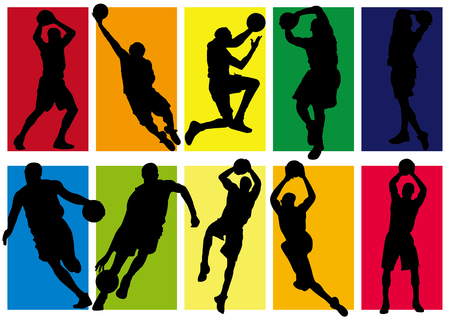 Vektor - Basketball Spieler Schatten Silhouette Standard-Bild - 88081990