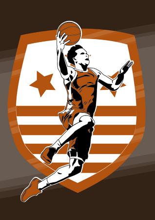 Sports basketball player slam dunk silhouette Illustration