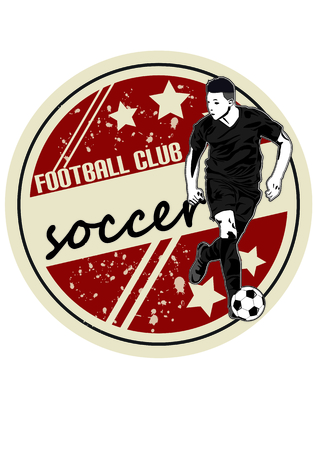 Sports icon with a soccer player Silhouette
