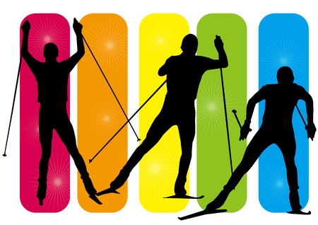 Silhouettes of man skiing