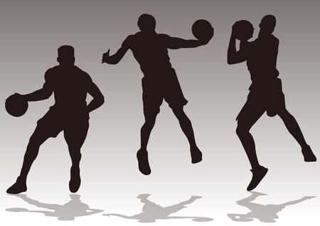 Basketball players slam dunk silhouette