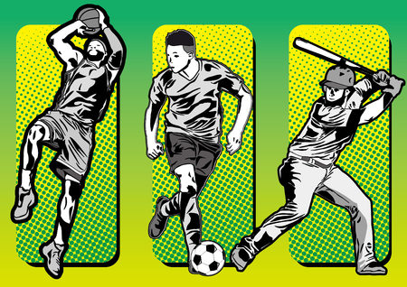 Sport icons and baseball basketball soccer players silhouettes Stock Illustratie
