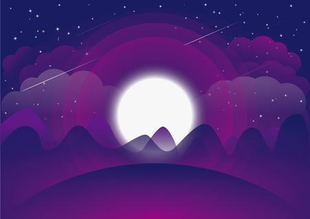 Moon shining bright at night