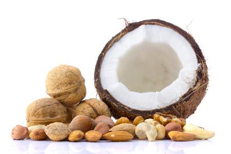 Set of coconut, walnuts, almonds, hazelnuts, cashews isolated on white background photo