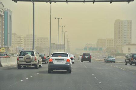 Jeddah city in dusty day.Sand storm in the city. Saudi Arabia