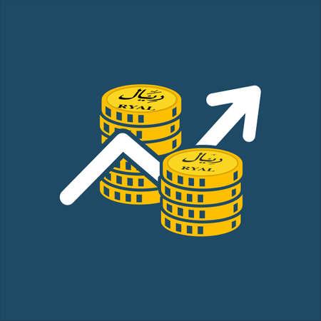 Business icon, Saudi riyal. Saudi Stock Market Vector,gold coins, share market, economy growth, saudi riyal coins Illusztráció