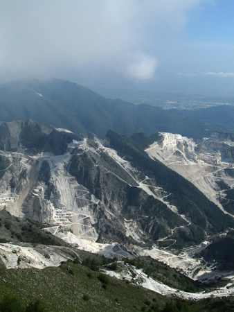 marble quarry in marina di carrara italy photo
