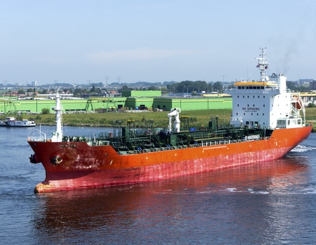 chemical tanker in the harbour of amsterdam