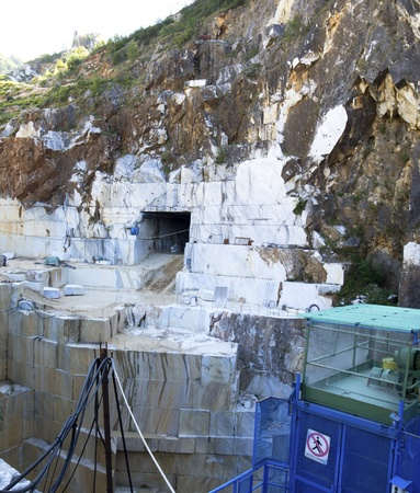 art processing: marble quarry in carrara italy