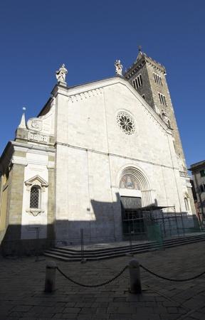sarzana: Sarzana (La Spezia, Liguria, Italy) - Front the Cathedral against a blue sky at evening