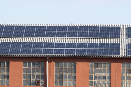 roof with solar power plant photo