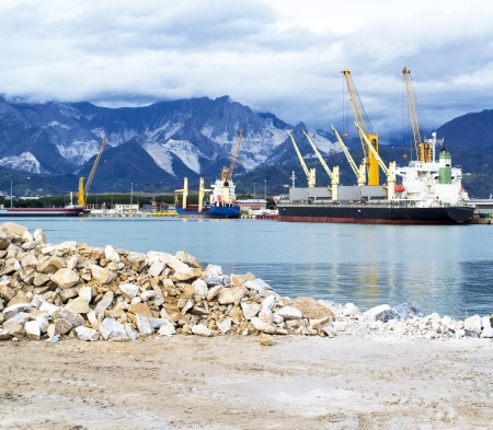 mining ship: harbour in marina di carrara italy Stock Photo
