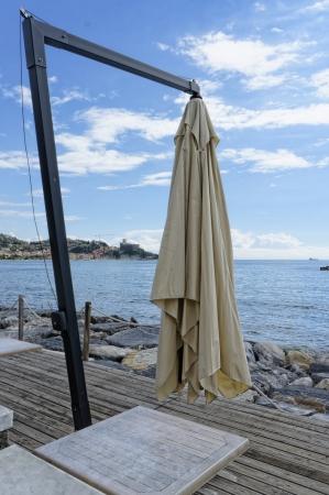 beach umbrella near a beach in san terenzo
