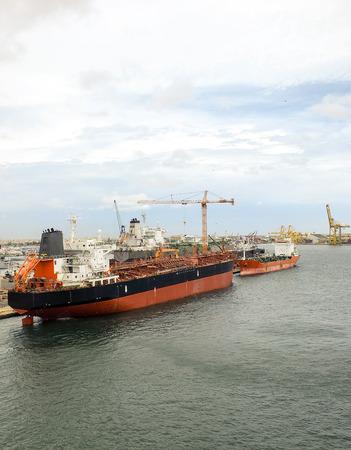 chemical tanker ship in the harbour of dakar