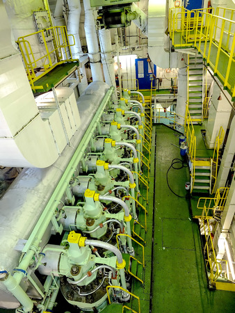 engine inside a ship during one of my voyage