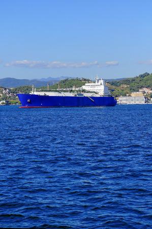 liquefied natural gas tanker LNG in the gulf of la spezia Stock Photo - 26350193
