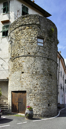 medieval tower in a little village called follo alto near la spezia