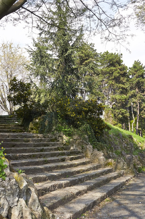 Beautiful spring view of the Valentinos public Park in Turin, Piedmont, Italy. Stock Photo