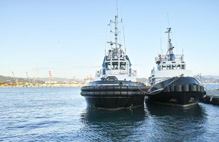 spezia: two moored tug boat in the harbour of la spezia Stock Photo