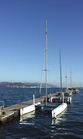 spezia: moored catamarans in the harbor of la spezia