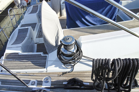 winch: Winch with rope on the boat. capstan