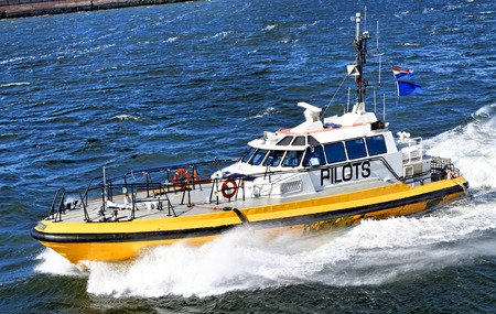 pilot boat in navigation in a windy day