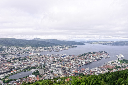aerial view of tromso in summer time photo