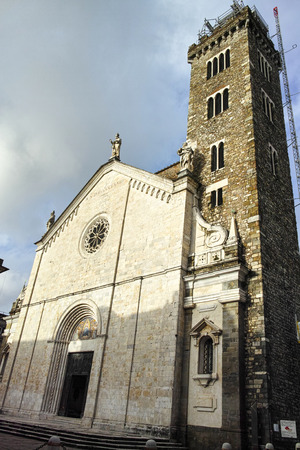 sarzana: facade of a church in sarzana, la spezia italy