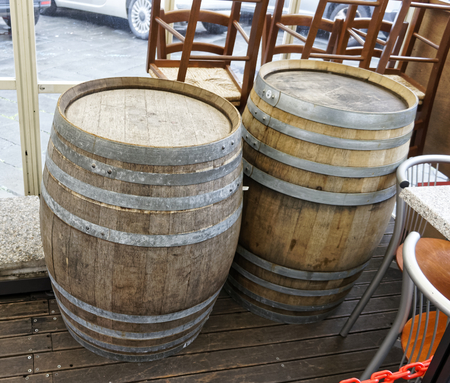 wooden barrel in a market in la spezia photo