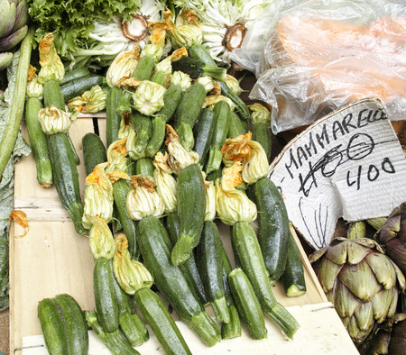 courgette: courgette at market in italy in the town of naples Stock Photo