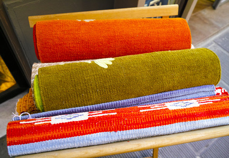 Rolls of colorful fabric in a marketduring my voyage photo