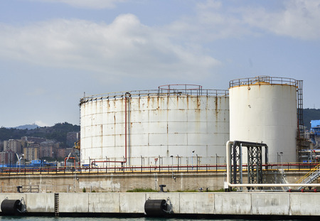 detail of a chemical plant in the harbour of Genova Stock Photo