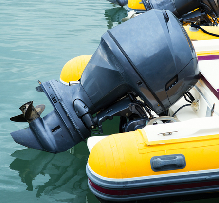 outboard: outboard engine on my noat Stock Photo