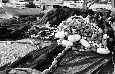 fishingnet: fishing net in a harbour located in La spezia Stock Photo